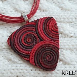 Vörös-fekete spirálok - ékszergyurma nyaklánc, Ékszer, Nyaklánc, Medálos nyaklánc, Ékszerkészítés, Meska