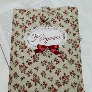 """Könyv óvó - \""""Roses\"""", Táska & Tok, Variálható táska, Hímzés, Varrás, Te is szeretsz elmélyülni egy jó könyvben? Bárhol, bármikor szereted a kezed ügyében tudni kedvenc r..., Meska"""