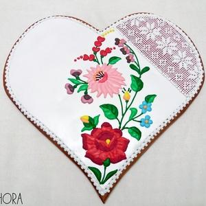Kalocsai mintás nagy mézeskalács szív 1., Esküvő, Emlék & Ajándék, Köszönőajándék, Mézeskalácssütés, Nagy mézeskalács szív kalocsai virág és keresztszemes hímzés díszítéssel. A szív bal oldalára egyedi..., Meska