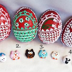 Mézeskalács húsvéti tojás meglepetés figurával, Játék & Gyerek, Gyurma, Mézeskalácssütés, Díszített mézeskalács 3D tojás, a belsejében kézzel készült süthető gyurma figurákkal, akasztóval, í..., Meska