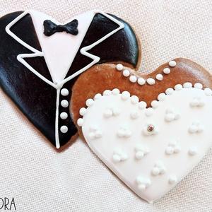 Mézeskalács esküvői páros szív köszönőajándéknak (nagy), Esküvő, Emlék & Ajándék, Köszönőajándék, Mézeskalácssütés, Mézeskalács páros szív nászruha díszítéssel, amely tökéletes köszönetajándéknak esküvőkre, évforduló..., Meska