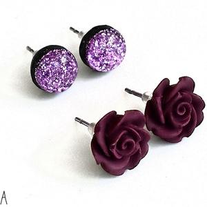 Süthető gyurma bedugós fülbevaló szett bordó rózsa + gyantázott lila csillámos, Ékszer, Fülbevaló, Pötty fülbevaló, Süthető gyurmából készült bedugós fülbevaló szett. Tartalma: 1 pár lilás-bordó rózsa és 1 pár csillá..., Meska