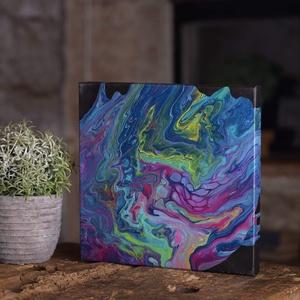 Színes absztrakt vászonkép, Dekoráció, Otthon & lakás, Kép, Lakberendezés, Falikép, Festészet, Fluid festési technikával készített vászonkép.\nA folyatásos technikával való festésnek köszönhetően ..., Meska