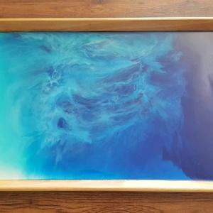 Gumifa tálca pigmentált gyantával, Dekoráció, Otthon & lakás, Konyhafelszerelés, Tálca, Lakberendezés, Festészet, Mindenmás, Gumifa tálca pigmentált gyantával újragondolva.\n\nTálca mérete: 38 x 58 cm\n\nA vendégeid is a csodájár..., Meska