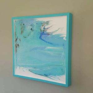 Absztrakt festmény fa képkeretben, Dekoráció, Otthon & lakás, Képzőművészet, Kép, Festmény, Festészet, Mindenmás, Ez a festmény a fa képkeretben akril fluid festési technikával készült, majd gyanta került a tetejér..., Meska