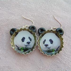 Pandamaci söröskupak fülbevaló - Meska.hu