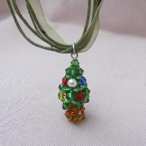 Mini karácsonyfa gyöngy nyaklánc - Meska.hu