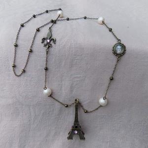 J'aime Paris - üveglencsés hosszú nyaklánc swarovski kristállyal, Ékszer, Hosszú nyaklánc, Nyaklánc, Ékszerkészítés, Meska