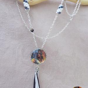 Black and White üveglencsés nyaklánc, Ékszer, Nyaklánc, Medálos nyaklánc, Ékszerkészítés, Meska