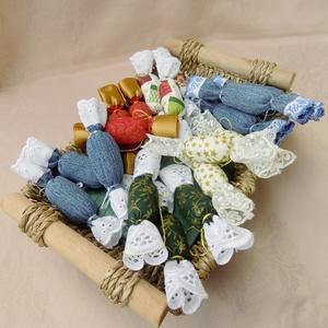 Textil szaloncukor , Karácsony & Mikulás, Karácsonyi dekoráció, Újrahasznosított alapanyagból készült termékek, Varrás, Meska