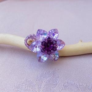 Lotus - Amethist swarovski gyűrű , Ékszer, Gyűrű, Gyöngyös gyűrű, Ékszerkészítés, Gyöngyfűzés, gyöngyhímzés, Meska