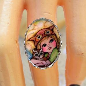 Én és a baglyom üveglencsés gyűrű , Ékszer, Gyűrű, Üveglencsés gyűrű, Ékszerkészítés, Meska