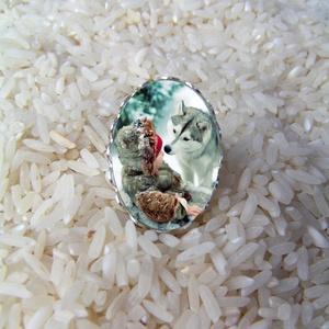 Piroska és a Farkas üveglencsés gyűrű , Ékszer, Gyűrű, Üveglencsés gyűrű, Ékszerkészítés, Meska