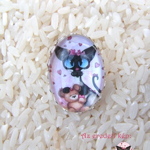Szerelmes Sziámi cica üveglencsés gyűrű , Ékszer, Gyűrű, Üveglencsés gyűrű, Ékszerkészítés, A lencse mérete: 18x25mm\nA gyűrű alapja állítható, Meska