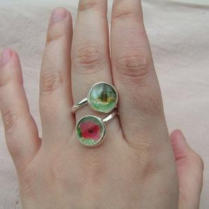 Tropicana üveglencsés gyűrű kolibrivel és hibiszkusszal - ékszer - gyűrű - üveglencsés gyűrű - Meska.hu