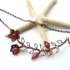 Piros virág - vörösréz nyaklánc  (kricsar) - Meska.hu