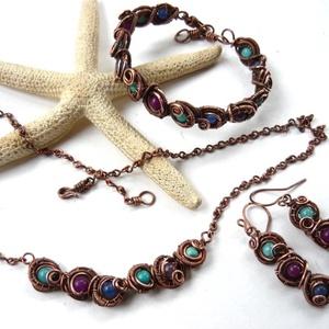 Kék-lila kagylók - vörösréz nyaklánc  (kricsar) - Meska.hu