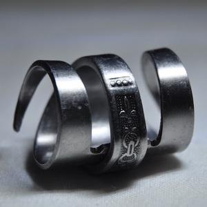 Mintás, csavart fém gyűrű (GY205), Ékszer, Fonódó gyűrű, Gyűrű, Ékszerkészítés, Fémmegmunkálás, Meska