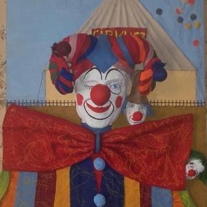 Miénk ez a cirkusz, Otthon & lakás, Képzőművészet, Vegyes technika, Újrahasznosított alapanyagból készült termékek, Rétegelt lemezre készült alkotás.Gipsz,filc,paprír és festék felhasználásával.Mérete:50cm×50cm...., Meska