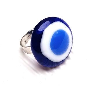 Ékszerüvegből készült gyűrű, Szoliter gyűrű, Gyűrű, Ékszer, Üvegművészet,  Bullseye ékszerüvegből készítettem a gyűrűmedált olvasztásos technikával. A medál átmérője 2,3cm. A..., Meska