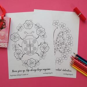 Virágok és álmok színező, Képzőművészet, Otthon & lakás, Grafika, Rajz, Illusztráció, Fotó, grafika, rajz, illusztráció, Mindenmás, A Virágok és álmok egy letölthető és nyomtatható tematikus színező. A természet megújulását hírdető ..., Meska