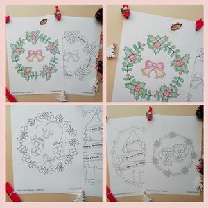 Karácsonyi színező masnikkal, Karácsony, Otthon & lakás, Képzőművészet, Grafika, Illusztráció, Fotó, grafika, rajz, illusztráció, Mindenmás, A Karácsonyi színező masnikkal egy letölthető és nyomtatható tematikus színező. \nKarácsonyi kedvence..., Meska