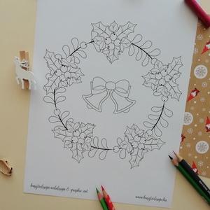 Karácsonyi színező masnikkal, Karácsonyi dekoráció, Karácsony & Mikulás, Fotó, grafika, rajz, illusztráció, Mindenmás, A Karácsonyi színező masnikkal egy letölthető és nyomtatható tematikus színező. \nKarácsonyi kedvence..., Meska