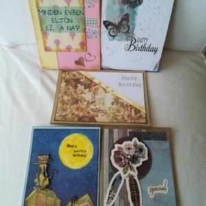 Születésnap - képeslap csomag, Képeslap & Levélpapír, Papír írószer, Otthon & Lakás, Papírművészet, 5 db, 10,5*15 cm egyedi, saját készítésű kézműves képeslap, 5 db borítékkal.\nA kihajtható képeslapok..., Meska
