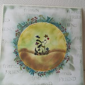 FRIEND - képeslap - kutyus, Képeslap & Levélpapír, Papír írószer, Otthon & Lakás, Papírművészet, 1 db, az átlagosnál nagyobb méretű, 15*15 cm egyedi, saját készítésű kézműves képeslap, 1 db boríték..., Meska
