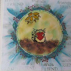 FRIEND - képeslap - cicás szívecskés, Képeslap & Levélpapír, Papír írószer, Otthon & Lakás, Papírművészet, 1 db, az átlagosnál nagyobb méretű, 15*15 cm egyedi, saját készítésű kézműves képeslap, 1 db boríték..., Meska
