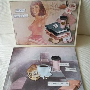 But first coffee - Go girl - 2 db képeslap, Képeslap & Levélpapír, Papír írószer, Otthon & Lakás, Papírművészet, 2 db, 10,5*15 cm egyedi, saját készítésű kézműves képeslap, 2 db borítékkal.\nA kihajtható képeslapra..., Meska