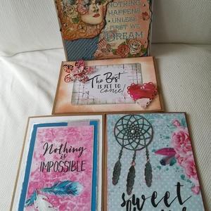 Motiváció - bátorítás - 4 db képeslap csomagban, Képeslap & Levélpapír, Papír írószer, Otthon & Lakás, Papírművészet, 3 db, 10,5*15 cm és 1 db 13,5*13,5 cm egyedi, saját készítésű kézműves képeslap, 4 db borítékkal.\nA ..., Meska