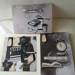 Day by day - 3 képeslap férifiaknak, Képeslap & Levélpapír, Papír írószer, Otthon & Lakás, Papírművészet, 2 db, 10,5*15 cm és 1 db 15*15 cm egyedi, saját készítésű kézműves képeslap, 3 db borítékkal.\nA kiha..., Meska