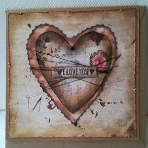 I LOVE YOU - egyedi szívecskés képeslap, Képeslap & Levélpapír, Papír írószer, Otthon & Lakás, Papírművészet, 1 db, az átlagosnál nagyobb méretű, 15*15 cm egyedi, saját készítésű kézműves képeslap, 1 db boríték..., Meska