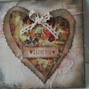 I LOVE YOU - egyedi szívecskés képeslap csipkével, Képeslap & Levélpapír, Papír írószer, Otthon & Lakás, Papírművészet, 1 db, az átlagosnál nagyobb méretű, 15*15 cm egyedi, saját készítésű kézműves képeslap, 1 db boríték..., Meska