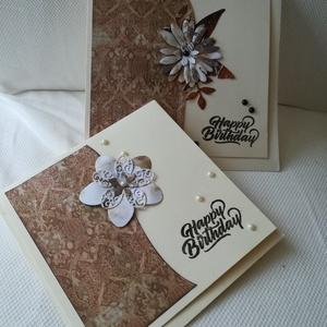 SZÜLETÉSNAP - 2 db képeslap: Happy birthday felirattal, Képeslap & Levélpapír, Papír írószer, Otthon & Lakás, Papírművészet, 1 db, 15*15 cm és 1 db 13,5*13,5 cm, négyzet alakú egyedi, saját készítésű kézműves képeslap, 2 db b..., Meska