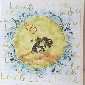 LOVE sünivel - 1 db képeslap, Képeslap & Levélpapír, Papír írószer, Otthon & Lakás, Papírművészet, 1 db, az átlagosnál nagyobb méretű 15*15 cm egyedi, saját készítésű kézműves képeslap, 1 db borítékk..., Meska