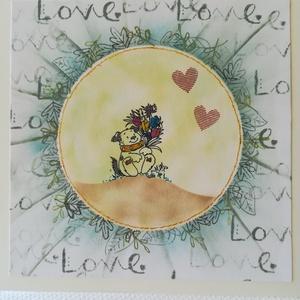 LOVE kutyussal - 1 db képeslap, Képeslap & Levélpapír, Papír írószer, Otthon & Lakás, Papírművészet, 1 db, az átlagosnál nagyobb méretű 15*15 cm egyedi, saját készítésű kézműves képeslap, 1 db borítékk..., Meska