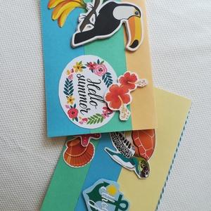 TEKNŐS -TUKÁN - SUMMER - 2 db képeslap, Képeslap & Levélpapír, Papír írószer, Otthon & Lakás, Papírművészet, 2 db, 10,5*15 cm egyedi, saját készítésű kézműves képeslap, 2 db borítékkal.\nA kihajtható képeslapra..., Meska