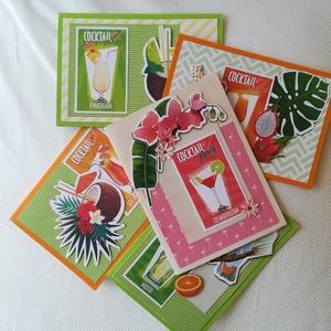 KOKTÉL PARTY - 5 db képeslap csomagban, Képeslap & Levélpapír, Papír írószer, Otthon & Lakás, Papírművészet, 5 db, 10,5*15 cm egyedi, saját készítésű kézműves képeslap, 5 db borítékkal.\nA kihajtható képeslapok..., Meska