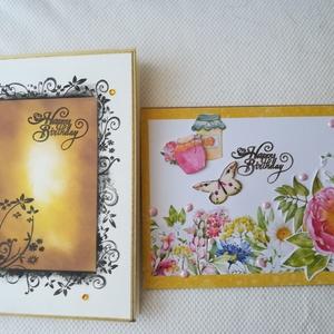 SZÜLETÉSNAP - 2 db képeslap: Happy birthday felirattal, Képeslap & Levélpapír, Papír írószer, Otthon & Lakás, Papírművészet, 2 db 10,5*15 cm, egyedi, saját készítésű kézműves képeslap, 2 db borítékkal.\nA kihajtható képeslapok..., Meska
