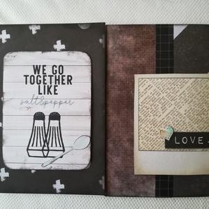 Together Love - 2 képeslap férfiaknak, Képeslap & Levélpapír, Papír írószer, Otthon & Lakás, Papírművészet, 2 db, 10,5*15 cm egyedi, saját készítésű kézműves képeslap, 2 db borítékkal.\nA kihajtható képeslapra..., Meska