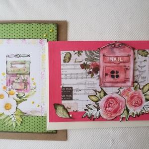 MAIL -. LETTER - 2 db képeslap, Képeslap & Levélpapír, Papír írószer, Otthon & Lakás, Papírművészet, 2 db, 10,5*15 cm egyedi, saját készítésű kézműves képeslap, 2 db borítékkal.\nA kihajtható képeslapra..., Meska