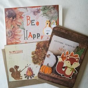 ŐSZ - 3 db képeslap, Képeslap & Levélpapír, Papír írószer, Otthon & Lakás, Papírművészet, 3 db, 10,5*15 cm egyedi, saját készítésű kézműves képeslap, 3 db borítékkal.\nA kihajtható képeslapra..., Meska