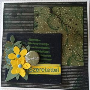 SZERETETTEL - 1 db képeslap, Otthon & Lakás, Papír írószer, Képeslap & Levélpapír, Papírművészet, 1 db, 13,5*13,5 cm, négyzet alakú egyedi, saját készítésű kézműves képeslap, 1 db borítékkal.\nA kiha..., Meska