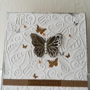 LEPKÉS- SZÜLETÉSNAPOS - 1 db képeslap: Happy birthday felirattal, Képeslap & Levélpapír, Papír írószer, Otthon & Lakás, Papírművészet, 1 db, 15*15 cm, az átlagosnál nagyobb, négyzet alakú egyedi, saját készítésű kézműves képeslap, 1 db..., Meska