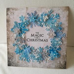 HÓPEHELY KARÁCSONYRA - 1 db képeslap, Karácsonyi képeslap, Karácsony & Mikulás, Otthon & Lakás, Papírművészet, 1 db, 15*15 cm, az átlagosnál nagyobb, négyzet alakú egyedi, saját készítésű kézműves képeslap, 1 db..., Meska