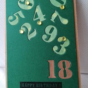 18. SZÜLETÉSNAP - 1 db képeslap: Happy birthday felirattal, Képeslap & Levélpapír, Papír írószer, Otthon & Lakás, Papírművészet, 1 db 10,5*15 cm, egyedi, saját készítésű kézműves képeslap, 1 db borítékkal.\nA kihajtható képeslapra..., Meska