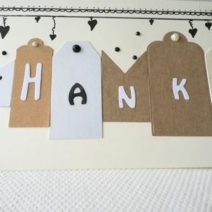 THANKS - KÖSZÖNÖM - 1 db képeslap, Otthon & Lakás, Papír írószer, Képeslap & Levélpapír, Papírművészet, 1 db 10,5*15 cm, egyedi, saját készítésű kézműves képeslap, 1 db borítékkal.\nA kihajtható képeslapra..., Meska