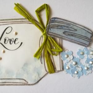 LOVE --- SHAKE THE LOVE- 1 db képeslap, Otthon & Lakás, Papír írószer, Képeslap & Levélpapír, Papírművészet, 1 db, a 10,5*15 cm egyedi, saját készítésű kézműves képeslap, 1 db borítékkal. A kihajtható képeslap..., Meska